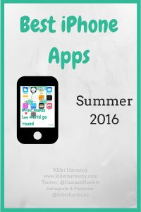 Killer Harmony | Best iPhone Apps: Summer 2016 | Phone apps are pretty great. You can surf the web, creep on social media, listen to music, and do a lot on the go. In this post, I share some of my favorite apps for iPhone. They are mostly free, except one, which is only $4! I hope you enjoy!